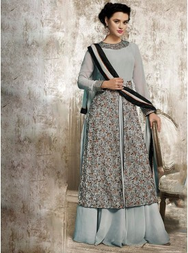 Shelina grey Color embroidery suit