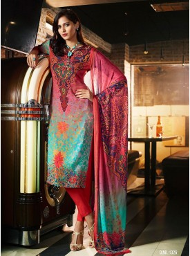 Shelina Pink and Skyblue Color Digital Print SUIT