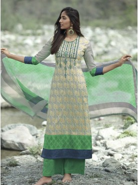 Shelina Grey and Pink Color Neck Line Embroidery SUIT