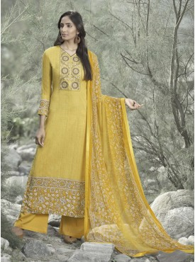 Shelina Yellow Color Neck Line Embroidery SUIT