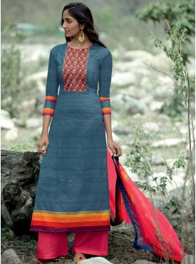 Shelina Blue Color Neck Line Embroidery SUIT