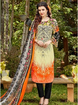Shelina Light Yellow & Orange Color Digital Printed SUIT