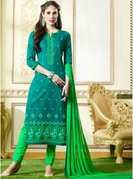 Shelina Sea Green Color Embroidery Suit