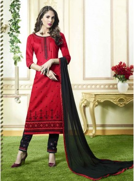 Shelina Red Color Embroidery Suit