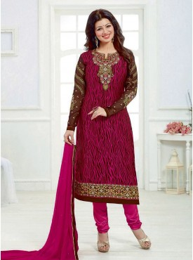 Shelina Pink Color Embroidered Suit