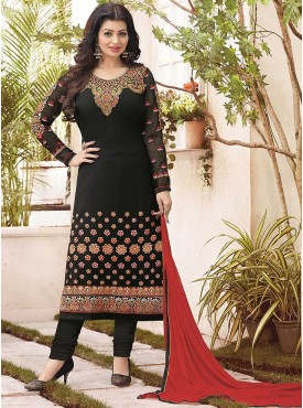 Shelina Black Color Embroidered Suit