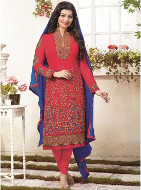 Shelina Red Color Embroidered Suit