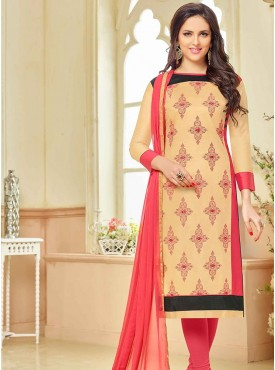Shelina Cream Color Embroidery, Mirror Work Suit