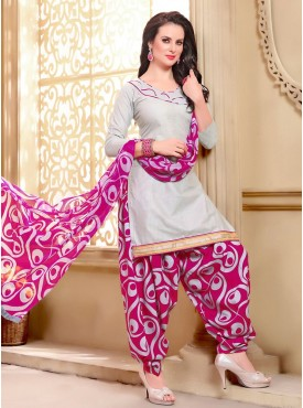 Shelina White Color printed Suit