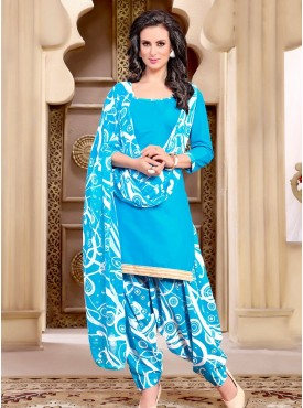 Shelina Skyblue Color printed Suit