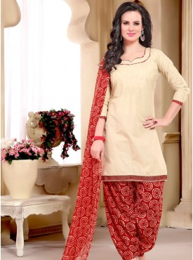 Shelina Cream Color printed Suit