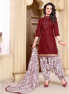 Shelina maroon Color printed Suit