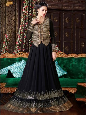 Shelina Black Color Embroidery Work and Stone Work Suit
