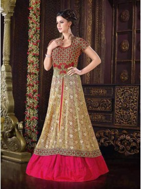 Shelina Golden Color Embroidery Work and Stone Work Suit