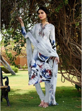 Shelina White Color Embroidery Work and Stone Work Suit