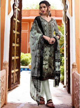 Shelina Cream and Black Color Embroidery Work and Stone Work Suit