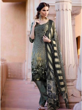 Shelina Grey Color Embroidery Work and Stone Work Suit