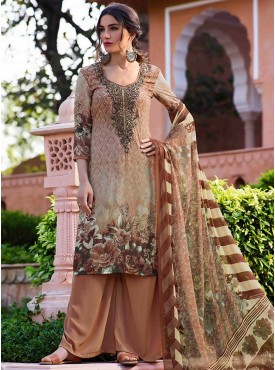 Shelina Beige Color Embroidery Work and Stone Work Suit