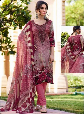Shelina Pink Color Embroidery Work and Stone Work Suit