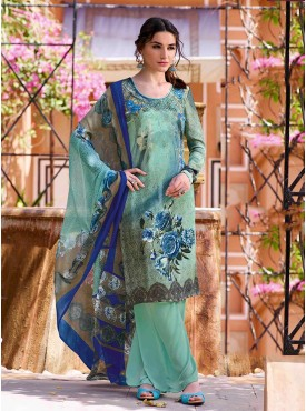 Shelina Skyblue Color Embroidery Work and Stone Work Suit