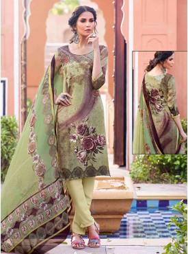 Shelina Green Color Embroidery Work and Stone Work Suit