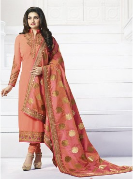 Shelina Peach Color Embroidery Work and Stone Work Suit