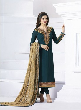Shelina Dark Green Color Embroidery Work and Stone Work Suit