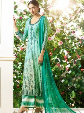 Shelina Cream and Green Color Light Embroidery Salwar Kameez