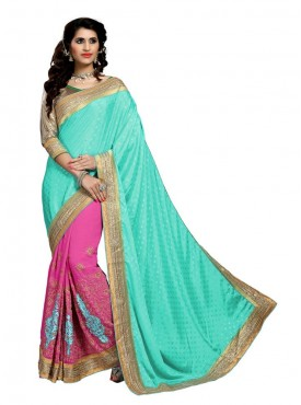 Aasvaa Excellent Women Embroidered Jacquard Silk Saree