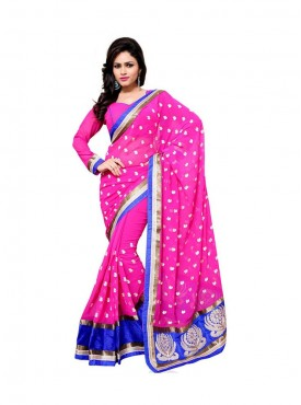 Aasvaa Sterling Women Embroidered Jacquard Silk Saree
