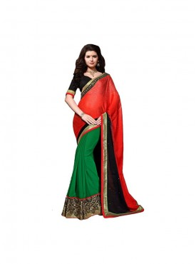Aasvaa Mind Blowing Women Embroidered Georgette Saree