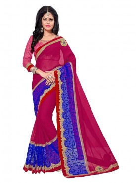 Aasvaa Perfect Women Embroidered Georgette Saree