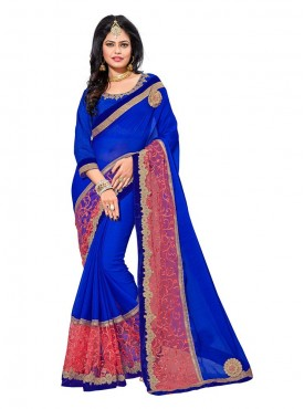 Aasvaa Remarkable Women Embroidered Georgette Saree