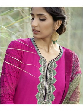 Shelina Woman Pink Lawn Cotton Party Wear Salwar Suit