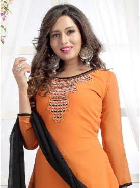 Shelina Woman Orange Georgette Party Wear Salwar Suit