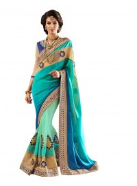 Viva N Diva Blue And Green Colored Satin And Pure Georgette Saree.