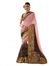 Viva N Diva Pink And Brown Colored Georgette And Net Saree.