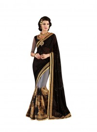 Viva N Diva Black And Grey Colored Georgette And Net Saree.
