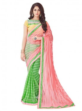 Viva N Diva Peach And Green Colored Net Saree.