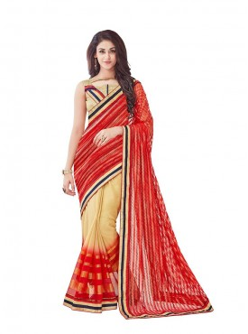 Viva N Diva Red And Beige Colored Net And Chiffon Saree.