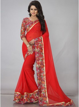 Shelina Red Color Fashionablee Saree