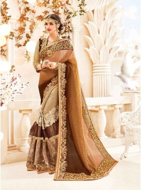 Shelina Beige Color Party Wear saree