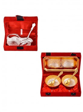 Mini Duck Tray with Spoon and Silver Gold Plated 2 Mini Flower Bowl with Spoon and Tray