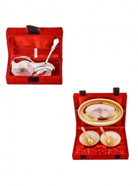 Mini Duck Tray with Spoon and Silver Gold Plated 2 Heavy Flower Bowl with Spoon and Tray