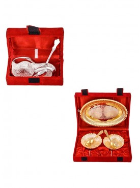 Mini Duck Tray with Spoon and Silver Gold Plated 2 Heavy Dil Bowl with Spoon and Tray