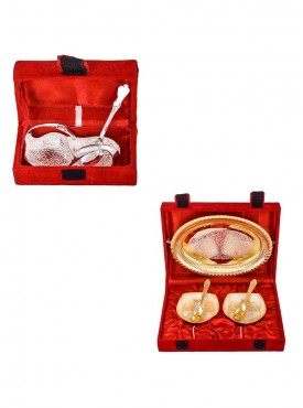 Mini Duck Tray with Spoon and Silver Gold Plated 2 Heavy Square Bowl with Spoon and Tray