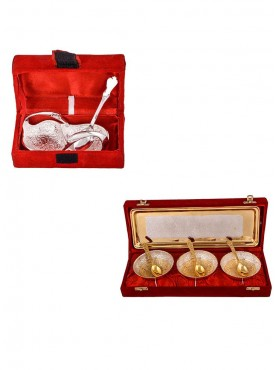 Mini Duck Tray with Spoon and Silver Gold Plated 3 Heavy Flower Bowl with Spoon and Tray