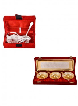 Mini Duck Tray with Spoon and Silver Gold Plated 3 Heavy Dil Bowl with Spoon and Tray