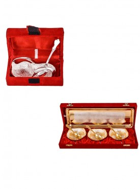 Mini Duck Tray with Spoon and Silver Gold Plated 3 Heavy Square Bowl with Spoon and Tray