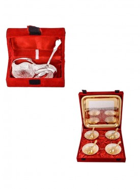 Mini Duck Tray with Spoon and Silver Gold Plated 4 Heavy Flower Bowl with Spoon and Tray